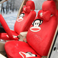 Paul Frank Universal Auto Car Seat Covers Velvet Full Set 18pcs - Red