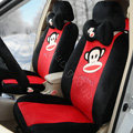 Paul Frank strip Universal Auto Car Seat Covers Velvet Full Set 18pcs - Black+Red