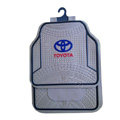 Toyota Logo Universal Automobile Carpet Car Floor Mats Set Rubber+PVC 5pcs Sets - Gray