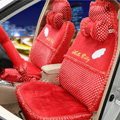 OULILAI Hello Kitty Wings Dot Universal Automobile Car Seat Cover Lace Velvet 21pcs - Red