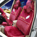 OULILAI Hello Kitty Wings Dot Universal Automobile Car Seat Cover Lace Velvet 21pcs - Rose