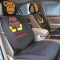 Universal Bape Milo Car Seat Cover Plush Auto Cushion 7pcs Sets - Black