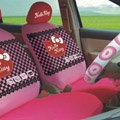 Universal Cotton Hello Kitty Classic plaid Auto Car Seat Cover 10pcs Sets - Pink