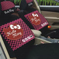Universal Cotton Hello Kitty Classic plaid Auto Car Seat Cover 10pcs Sets - Rose+Black