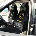 Universal Cute Giraffe print Hello Kitty Ice silk Lace Auto Car Seat Cover 11pcs Sets - Black