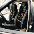 Universal Ice silk Lace Hello Kitty Giraffe print Auto Car Seat Cover 11pcs Sets - Black