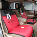 Universal Mickey Minnie Mouse Car Seat Cover Plush Auto Cushion 7pcs Sets - Red+Black