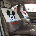 Universal Minnie Mickey Mouse Car Seat Cover Plush Auto Cushion 7pcs Sets - Beige+Coffee