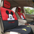 Universal Minnie Mickey Mouse Car Seat Cover Plush Auto Cushion 7pcs Sets - Red+Black