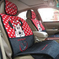 Universal Minnie Mouse Car Seat Cover Plush Auto Cushion 7pcs Sets - Red+Black