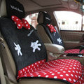 Universal Minnie Mouse Polka Dots Car Seat Cover Plush Auto Cushion 7pcs Sets - Red+Black