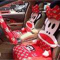 Universal Paul Frank Car Seat Cover Plush Auto Cushion 12pcs Sets - Red