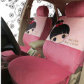 Universal Plush Cherry girl Acacia Car Seat Cover 18pcs Sets - Pink