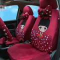 Universal Plush Cherry girl Acacia Heart Auto Seat Cover 18pcs Sets - Red