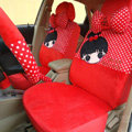 Universal Plush Cherry girl Acacia Polka Dots Car Seat Cover 18pcs Sets - Red