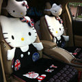 Universal Plush Hello Kitty Car Seat Cover Auto Cushion 12pcs Sets - Black+White
