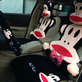 Universal Plush Paul Frank Car Seat Cover Auto Cushion 12pcs Sets - Red+Black