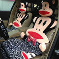 Universal Plush Paul Frank Polka Dots Car Seat Cover Auto Cushion 12pcs Sets - Black