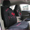 Universal Plush Velvet Bowknot Hello Kitty Auto Car Seat Cover 10pcs Sets - Black