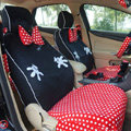 Universal Plush Velvet Minnie Mouse Polka Dots print Auto Car Seat Cover 18pcs Sets - Red+Black
