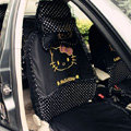 Universal Polka Dots print Hello Kitty Ice silk Lace Auto Car Seat Cover 11pcs Sets - Black