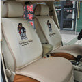 Universal The Pooh Winnie Bear Car Seat Cover Plush Auto Cushion 7pcs Sets - Beige