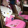 Universal Velvet Hello Kitty Auto Seat Cover Auto Cushion 12pcs Sets - Pink