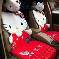 Universal Velvet Hello Kitty Car Seat Cover Auto Cushion 12pcs Sets - Red