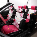 Universal Velvet Hello Kitty Car Seat Cover Auto Cushion 12pcs Sets - Rose