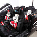 Universal Velvet Mickey Minnie Mouse Car Seat Cover Auto Cushion 12pcs Sets - Red+Black
