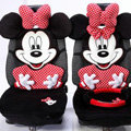 Universal Velvet Minnie Mouse Polka Dots Car Seat Cover Auto Cushion 12pcs Sets - Red+Black