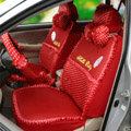 OULILAI Hello Kitty Polka dot Universal Lace Car Seat Cover Ice Silk Full Set 21pcs - Red