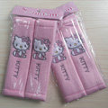 Best Cartoon Hello Kitty Velvet Automotive Seat Safety Belt Covers Car Decoration 2pcs - Pink