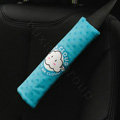 Classic Cartoon Mr Cloud Velvet Automotive Seat Safety Belt Covers Car Decoration 2pcs - Blue