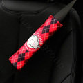 Classic Cartoon Mr Cloud Velvet Automotive Seat Safety Belt Covers Car Decoration 2pcs - Red