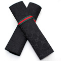 Classic Gucci Ice silk Automotive Seat Safety Belt Covers Car Decoration 2pcs - Black