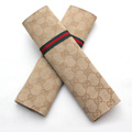 Classic Gucci Ice silk Automotive Seat Safety Belt Covers Car Decoration 2pcs - Gold