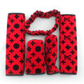 Classic Hot Sell LV Velvet Car Inner Automotive Decoration Sets 5pcs - Red