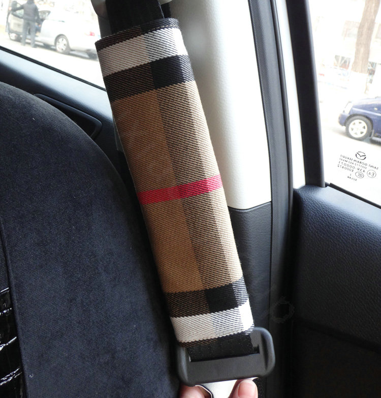 buy wholesale classic synthetic fiber burberry grid auto seat safety belt covers car decoration. Black Bedroom Furniture Sets. Home Design Ideas