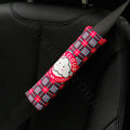 Classic plaid Cartoon Mr Cloud Velvet Automotive Seat Safety Belt Covers Car Decoration 2pcs - Red
