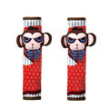 Cute Cartoon Carinono Monkey Velvet Automotive Seat Safety Belt Covers Car Decoration 2pcs - Coffee+Red