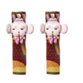 Cute Cartoon Carinono Monkey Velvet Automotive Seat Safety Belt Covers Car Decoration 2pcs - Pink+Red
