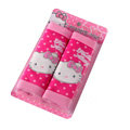 Cute Hello Kitty Pineapple cloth Automotive Seat Safety Belt Covers Car Decoration 2pcs - Rose