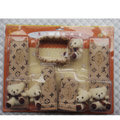 Cute LV print Bear Velvet Car Inner Automotive Decoration Sets 5pcs - Beige