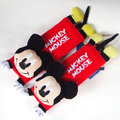 Cute Mickey Mouse Velvet Automotive Seat Safety Belt Covers Car Decoration 2pcs - Red