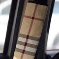 Personalised Canvas Cloth Cotton Burberry Auto Seat Safety Belt Covers Car Decoration 2pcs - Beige