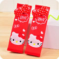Pretty Bowknot Hello Kitty Velvet Automotive Seat Safety Belt Covers Car Decoration 2pcs - Red