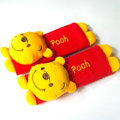 Pretty Winnie the Pooh Velvet Automotive Seat Safety Belt Covers Car Decoration 2pcs - Red+Yellow