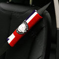 Unique Cartoon Mr Cloud British flag Velvet Automotive Seat Safety Belt Covers Car Decoration 2pcs - Red