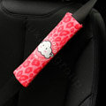 Unique Cartoon Mr Cloud Leopard Velvet Automotive Seat Safety Belt Covers Car Decoration 2pcs - Red